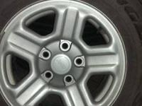 We have 5 16 in. Jeep tires with rims in terrific
