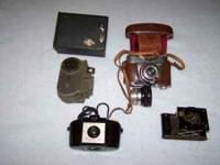 5 old cameras Including Kodak No. 2 Brownie, Kodak