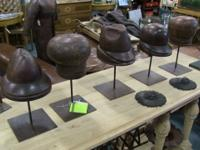 A set of wooden European hat molds. Excellent for a