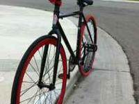 Black & red fixie, 1 red deep-v , Back alex rim with
