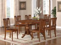 This 7 piece set includes traditional Oval Dining Room