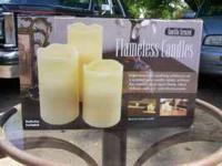 Set of Three Flameless Candles New in Box $8.00 Call