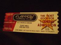 Flappers Funny Club and Restaurant Tickets.  5 Tickets