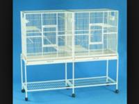 "Double all-steel 1/2""X1/2"" wire bird cage with divider"