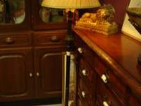 Antiqued black finished floor lamp with cream colored