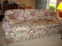 Lovely floral sofa by Temple. 84 inches long,