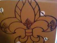 NEW FLEUR DE LIS WROUGHT IRON NEW FOR $25.00 TEXT