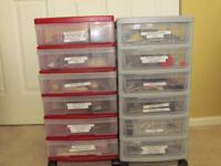 two 6 drawer storage boxes with soft hackle ,hen backs