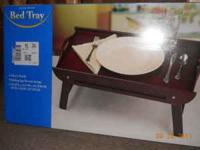 folding bed tray..dark wood color..brand new in