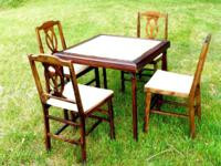 Vintage CARD TABLE / Bridge Table with folding legs and