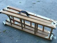 Tri-fold wood ladder-- reaches 12'-- quite strong with