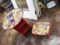 Fascinating decoupage set. Red lacquered cabinet- table