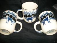 Tienshan Folkcraft WOLF 3 COFFEE MUGS Blue Sponge This