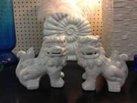 "Foo Dogs White Ceramic. 7"" High x 7"" Long. $38. Diverse"