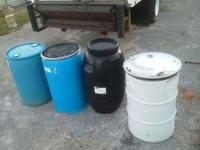 55 gallon ,open top,metal or plastic,water barrels
