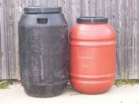 51 gal. food grade plastic barrels at $20.00 each. 60
