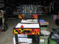 foosball table with switchable tops for air hockey and