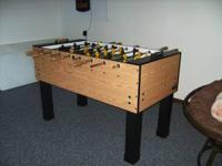 Tornado Twister Foosball Table with light oak cabinet,