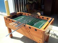 PRICE REDUCED TO SELL!! Wooden foosball table, very