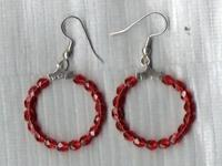 Hoop Earrings  RED 1.5 inches Wide Silver Plated