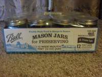 New, in the case, 12 pint size (16 oz) Ball Mason Jars