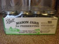 New, in the case, 12 quart size (32 oz) Ball Mason Jars