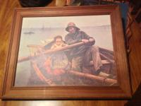 For Sale:Vintage E. Renouf a helping hand oil painting