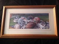 For Sale: Sabrina Grey football real wood framed print