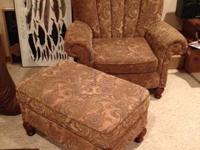 Tapestry club chair w/ottoman $125