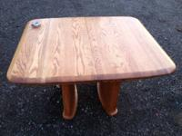 For sale square oak dining room table with 3 leaves