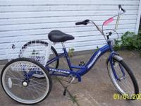 Torker, Adult Blue Trycycle, with Basket, Inter-3 hub