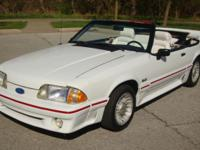 1988 Ford Mustang GT Convertible. White with white/red