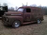 1951 OR 52 ? FORD PANEL TRUCK COMPLETE MOTOR , TRANS,