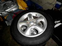 ALLOY RIMS AND TIRES SET ALL 4 WITH GOOD TREAD NOT DRY
