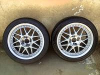 2 Lenso 4 lug global rims17x7jj. With Fuzion Hri tires