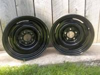 Got 2 nice 15x6 black steel wheels perfect for snow
