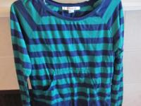 Very cute scoop neck blue and green striped