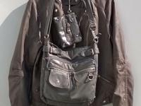 FOREVER 21 Faux Leather Grey Jacket with matching purse