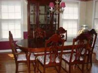 Formal Cherry Finish Dining Room Set With China