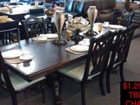 FORMAL DINING TABLE + 6 CHAIRS ONLY $1,299.99 + TAX