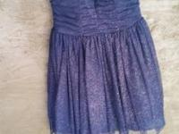 Worn once.  Dark blue with gold sparkles. Zipper back.