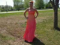 orange prom dress, wore one time, great conditon. size