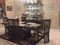 Dinning room set includes table with leaf, 6 chairs,