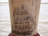Beautiful fossilized Mammoth ivory scrimshawed and