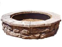 The Fossil Stone Brown Fire Pit features a wide fire