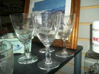 SET OF FOUR FOSTORIA  CRYSTAL SHORT WINE GOBLETS. IN