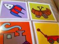 8x8 prints of train, wagon, canoe and rocket. Call .