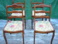 SET OF FOUR EXQUISITE VINTAGE CHAIRS WITH EMBROIDERED