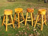 FOUR VERY NICE LOG BAR STOOLS, VERY GOOD CONDITION. A