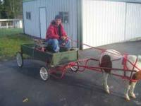 Four wheel green & red buckboard pony wagon, very nice